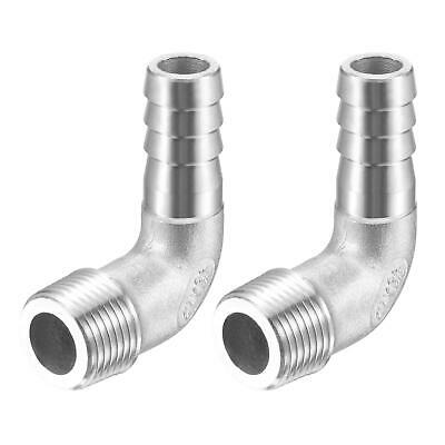 2pcs 304 Stainless Steel Hose Barb Fitting Elbow 12mm x G3/8 Male Pipe Connector