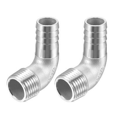 2pcs 304 Stainless Steel Hose Barb Fitting Elbow 16mm x G1/2 Male Pipe Connector