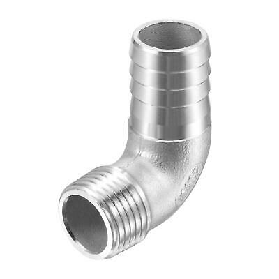 304 Stainless Steel Hose Barb Fitting Elbow 20mm x G1/2 Male Pipe Connector
