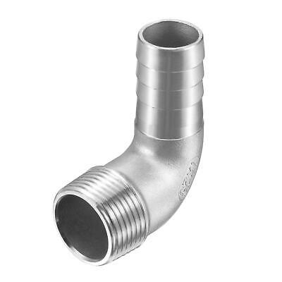 304 Stainless Steel Hose Barb Fitting Elbow 25mm x G1 Male Pipe Connector