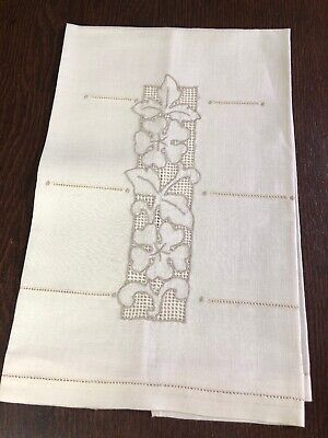 Antique Victorian Fine Cotton Guest Towel  Embroidered Cutwork Hemstitched Ivory