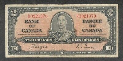 1937 $2.00 BC-22c F ** Nice King George VI COYNE Bank of Canada OLD Two Dollars