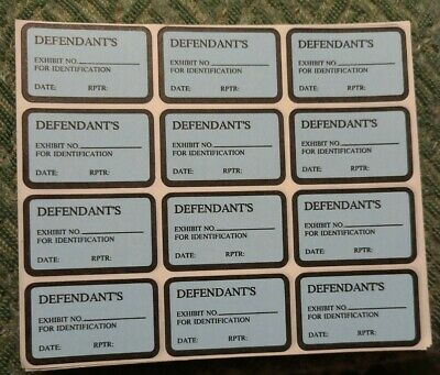 600 DEFENDANT'S EXHIBIT NO. FOR ID Labels Stickers Blue