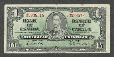 1937 $1.00 BC-21c VF NICE King George VI GORDON-Towers Bank of Canada One Dollar