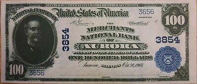 Repro Note $ 100 Dollars 1902 FR 700 National Currency Merchants Bank Aurora IL