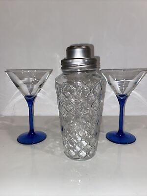 Cocktail Shaker With Strainer.   Two Glasses Blue Stems.
