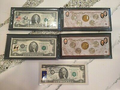 Pair Of Lewis & Clark Collection With 1976 E $2  Coin & Currency Set + Bonus!!!