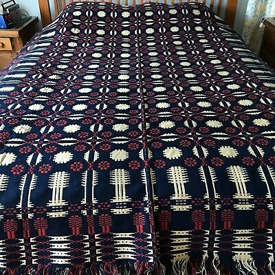 Antique reversible HAND-WOVEN COVERLET, 1840's
