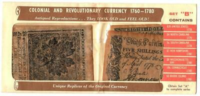 Colonial & Revolutionary Currency 1760-1780, Set B ~ Antiqued Reproductions