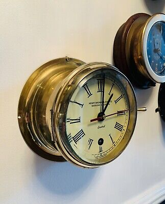 """Superb 6"""" Brass cased Ships Bulkhead Clock by Henry Browne & Sons (Sestral)"""