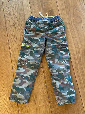 Mini Boden boys 5-6 years Green Cargo Trousers With Warrior Knees Pull Ons
