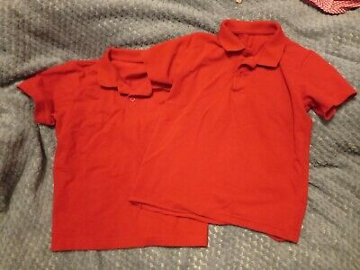 2 x Red Polo PE T-shirts Aged 5 Years