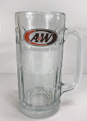 Vintage A&W Root beer Pepsi Glass Mug 7in Tall 20oz Glass