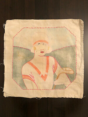 Antique Vintage 1920s Tinted Pillow Cover GOLFER FLAPPER GIRL WEARING CLOCHE HAT