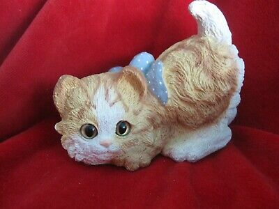 Vintage 1988 Kitty Cat Orange and White Kitten with Glass Eyes Figurine