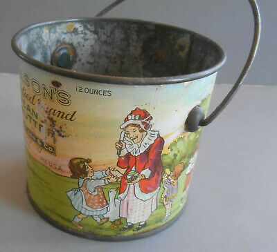 Wilson's Peanut Butter Tin Lithographed Pail Mother Goose characters Original
