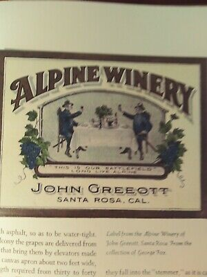 Printer's 1st proof 'Vineyards and Wine cellars of California' 20th c.