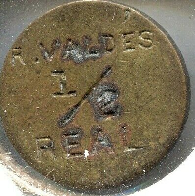 R. Valdes 1/2 Real (Railroad Token) - Fu 545 -  Puerto Rico - Lot # EC 4739