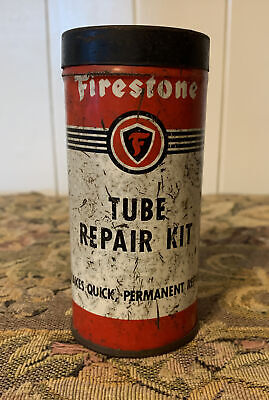 Vintage FIRESTONE Tube Repair Kit Tin Container Empty