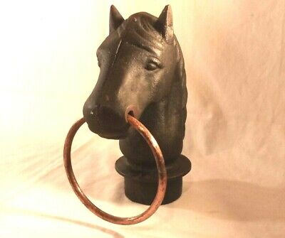 Cast Iron Antique Horse Head Hitching Fence Post Topper 6Lbs Copper Ring