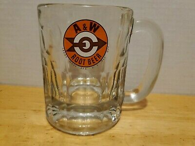 "Vintage 1950's A & W Root Beer Soda Arrow & Target Logo 4.25"" Mug Chipped"