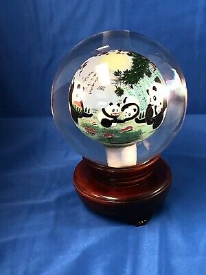Very Large Glass Inside Painted Ball with stand PANDAS
