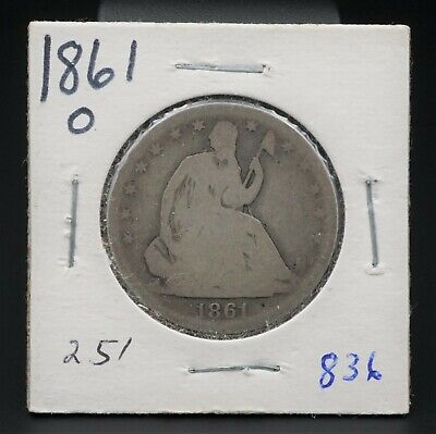 1861-O Silver Seated Liberty Half Dollar Reeded Edge 50c New Orleans M1358