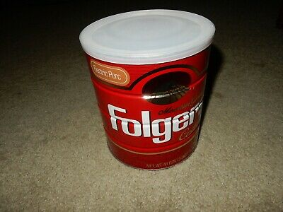 Vintage 1980s Folgers Coffee Can Tin Electric Perk Full Sealed