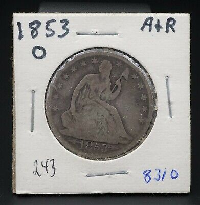 1853-O Silver Seated Liberty Half Dollar Reeded Edge 50c New Orleans RARE M1370