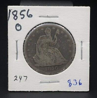 1856-O Silver Seated Liberty Half Dollar Reeded Edge 50c New Orleans RARE M1373