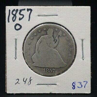 1857-O Silver Seated Liberty Half Dollar Reeded Edge 50c New Orleans RARE M1372