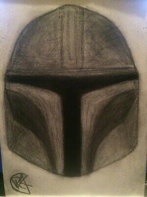 STAR WARS - The Mandalorian helmet - A5 Sketch Art in silver pencil (original)