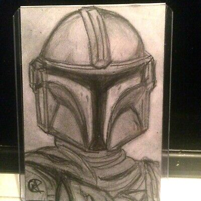 STAR WARS - The Mandalorian ( DIn Djarin )  - A6 original sketch Art card