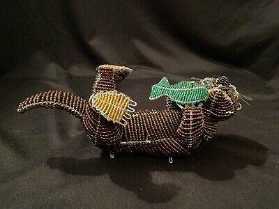 Beadworx Grassroots Glass Bead & Wire Otter & Fish Figurine