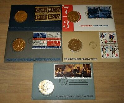 Set of 5 American Revolution Bicentennial Medal & 1st Day Issue Stamps 1972-1976