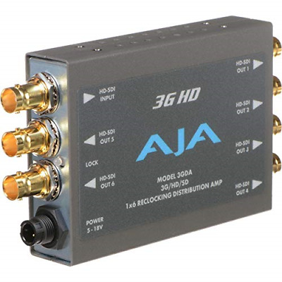 AJA 3GDA 1x6 3G/HD/SD Reclocking Distribution Amplifier