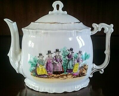 COLLECTABLE !19th century German Porcelain Teapot with 5 Ladies in Welsh Costume
