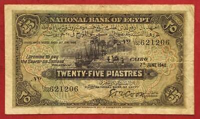 Egypt , 25 Piastres 1940 Singed By Cook ( Who Signed 2 Prefix Only ) , Rare