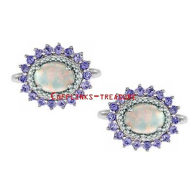 Natural Ethiopian Opal & Tanzanite Gemstones with 925 sterling silver Cufflinks