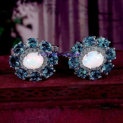 Natural Ethiopian Opal & Landon Blue topaz stones 925 sterling silver Cufflinks