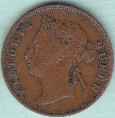 1897 Straits Settlements Victoria One Cent copper coin