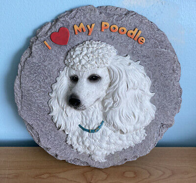 """White poodle stone wall decor or marker stepping stones Spoontiques 10"""" diameter"""