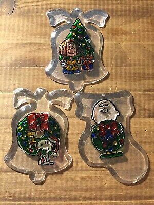 """Vintage Acrylic 4"""" Charlie Brown Snoopy Peppermint Christmas Ornament Peanuts"""