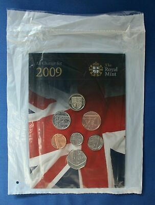 2009 Royal Mint 7 coin Uncirculated set in folder - Factory Sealed