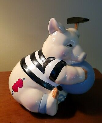 """Vintage Pig With Hearts Tattoo & Hammer ~ 7"""""""