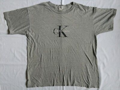VINTAGE 90s CK CALVIN KLEIN SPELL OUT LOGO T SHIRT L XL Poly Cotton Gray