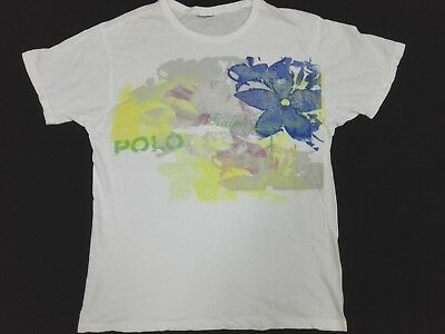 POLO RALPH LAUREN T SHIRT Flower Big Art M Girl Women Large Rare Vtg
