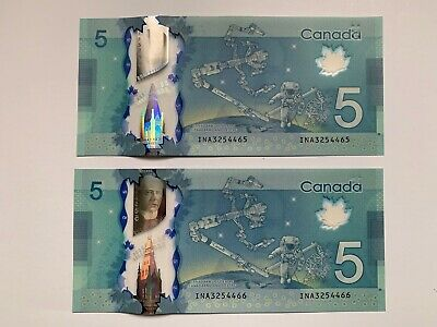 Bank of Canada $5 2013 INA3254465-66 Wilkins/Poloz UNC