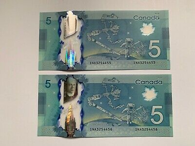 Bank of Canada $5 2013 INA3254455-56 Wilkins/Poloz UNC