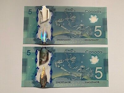 Bank of Canada $5 2013 INA3254457-58 Wilkins/Poloz UNC
